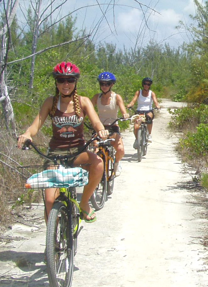 Family on Bicycles in Bahamas